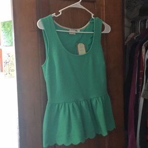 Anthropologie Green Scallop Open Back Tank